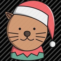 animal, cat, christmas, cute, hat, pet icon