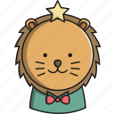 animal, christmas, cute, jungle, lion icon
