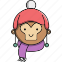 animal, christmas, cute, jungle, monkey icon