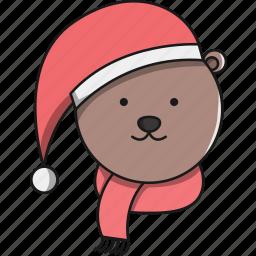 animal, bear, christmas, cute, forest icon