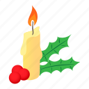 berries, candle, cartoon, christmas, holiday, red, xmas icon