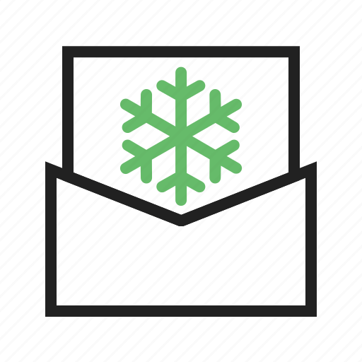 card, envolope, flake, mail, snow icon