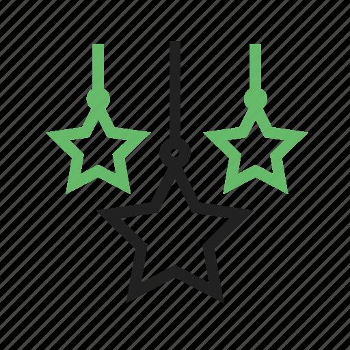 decorations, hangings, luminious, sparkling, stars icon