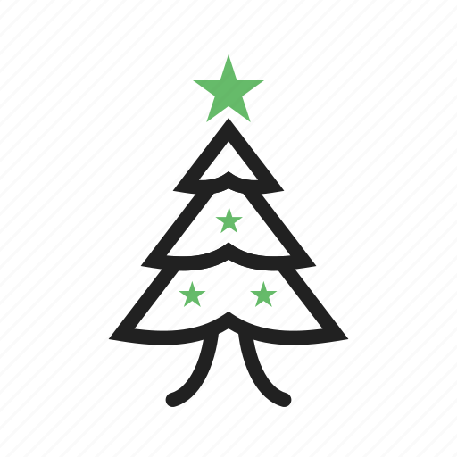 christmas, decorated, leaves, stars, stem, tree icon