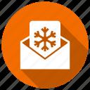 eml, invitation, letter, message, snowflake, xmas icon