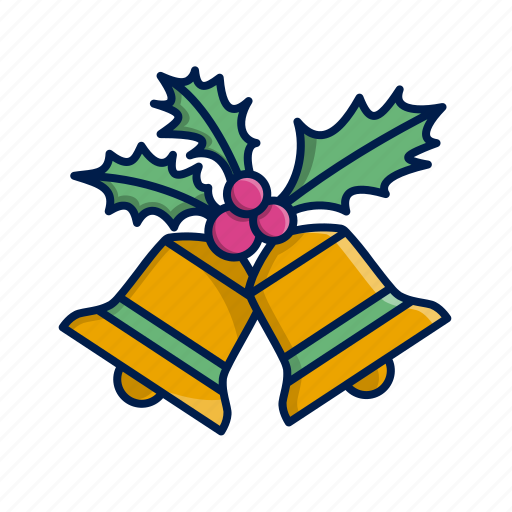 bells, christmas, decoration, holly, xmas icon