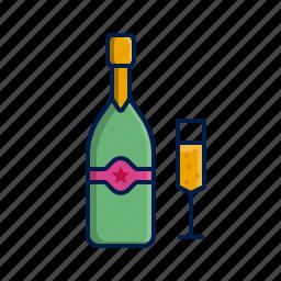 bottle, celebration, champagne, glass, xmas icon