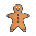 christmas, food, gingerbread man, new year icon