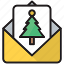 card, good, greeting, letter, mail, tree, wishes icon