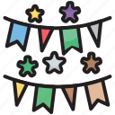 bunting, christmas, decoration, festival, garland, paper, sheet icon