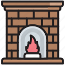 chimney, christmas, cold, fire, fireplace, interior, winter