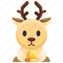 animal, winter, animals, christmas, deer, reindeer, mammal icon