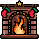 chimney, fireplace, furniture, living, room, warm, winter icon
