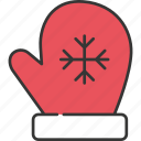 christmas, decoration, festive, glove, holiday, warm, winter icon
