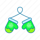 christmas, cold, gloves, wear, winter icon icon