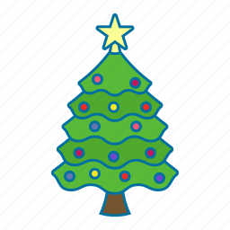 christmas, christmas tree, ornament, pine, star icon