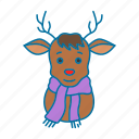 christmas, deer, holidays, red nose, reindeer, winter icon icon