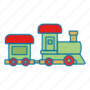 christmas, present, toy, train icon