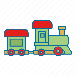 christmas, present, toy, train icon