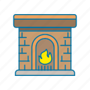christmas, fire, hite, warm icon