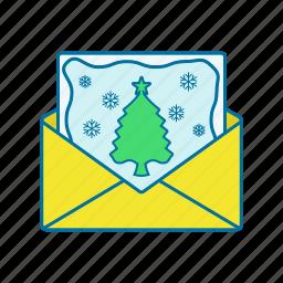 christmas, envelope, gift, postcard icon