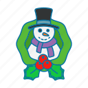 snowman, snow, cold, winter, christmas icon
