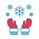 christmas, gloves, snow, wear, winter icon icon