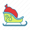 carriage, christmas, clause, ride, santa, sled icon icon