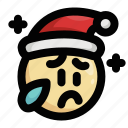 christmas, cry, emoji, emoticon, sad, santa claus, tears icon