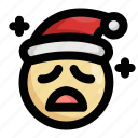 christmas, emoji, emoticon, sad, santa claus, shocked, upset icon
