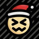 christmas, embarrassing, emoji, emoticon, santa claus, shocked, upset icon