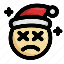 christmas, emoji, emoticon, exhausted, sad, santa claus, tired icon