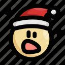 christmas, emoji, emoticon, santa claus, shock, shocked, surprised