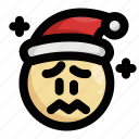 anxious, christmas, emoji, emoticon, sad, santa claus, worried icon