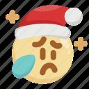 christmas, cry, emoji, emoticon, sad, santa claus, tears icon