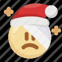 christmas, emoji, emoticon, hurt, injury, santa claus, wounded