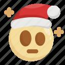 christmas, emoji, emoticon, santa claus, shock, shocked, stress