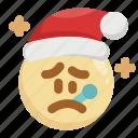 christmas, emoji, emoticon, fever, santa claus, sick, virus icon