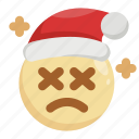 christmas, emoji, emoticon, exhausted, sad, santa claus, tired icon