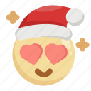 christmas, emoji, emoticon, fall in love, heart, love, santa claus