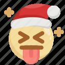 christmas, emoji, emoticon, joke, kidding, santa claus, tongue