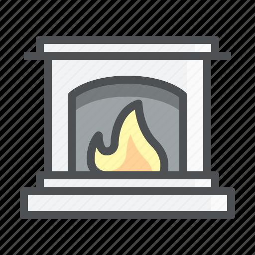 christmas, fireplace, fireside icon