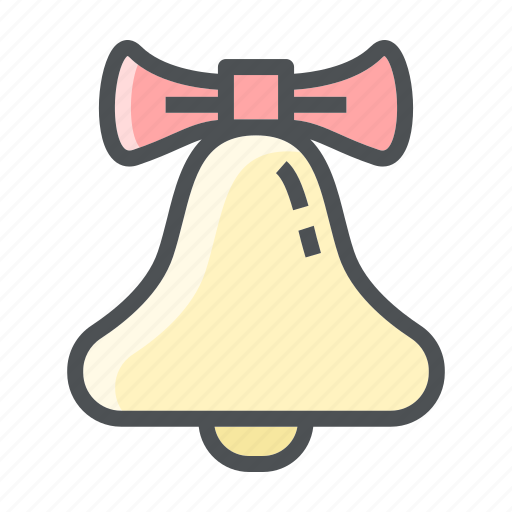 bell, christmas, decoration, ribbon, tie icon