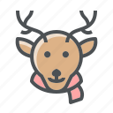 christmas, deer, elk icon