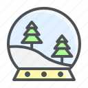 christmas, globe, pine, snow icon