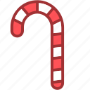 candy cane, candy stick, christmas, decoration icon