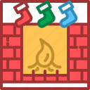 christmas, decoration, fireplace, ornament icon