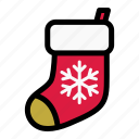 christmas, christmas sock, decoration, holiday, sock, stocking, xmas icon