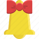 alarm, bell, bow, christmas, decoration, music, ribbon icon