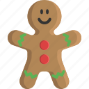 bakery, christmas, cookie, food, gingerbread, man, sweet icon